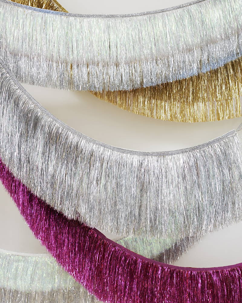 Meri Meri Tinsel Fringed Garlands in Silver, Gold and Red