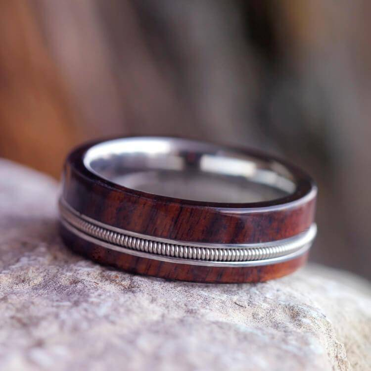 Guitar String Ring with Bolivian Rosewood