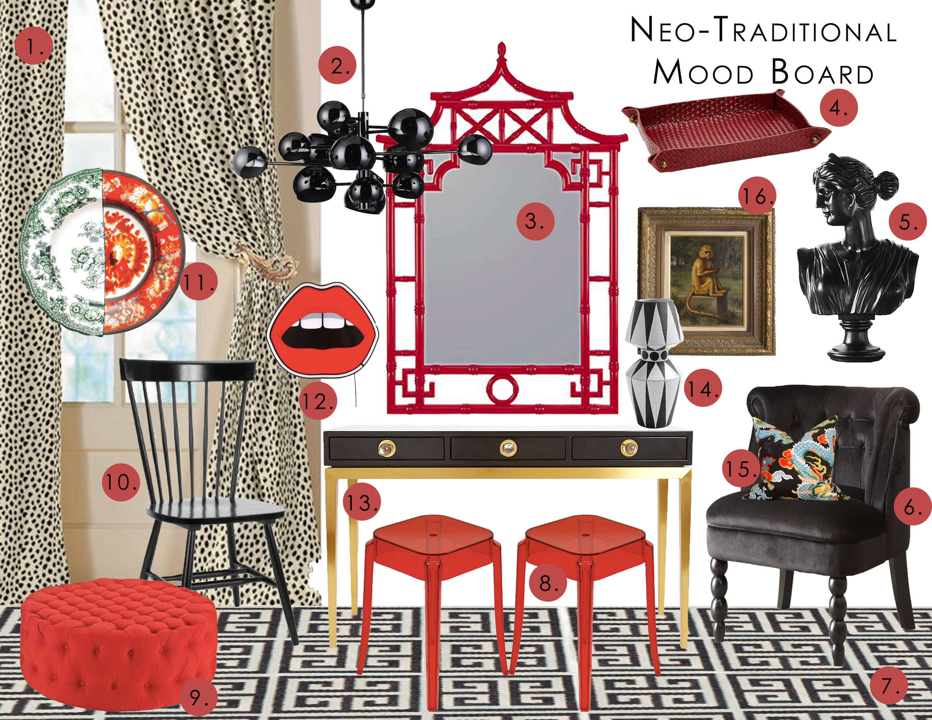 an interior design mood board in the neo-traditional style with a red and black theme