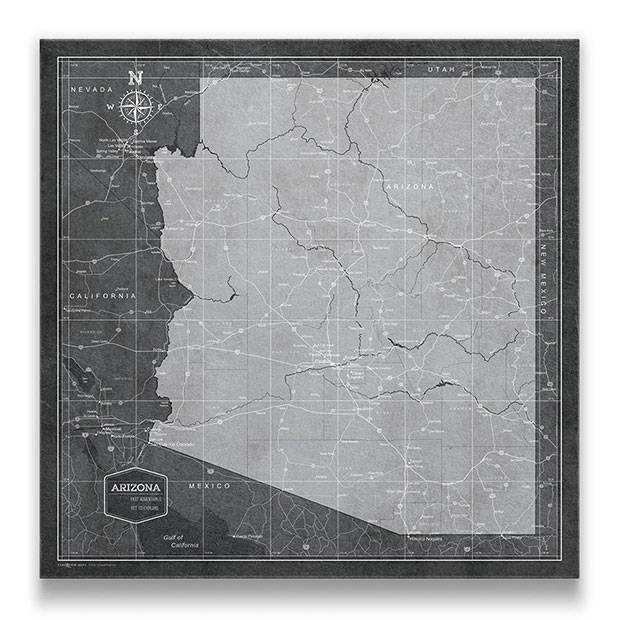 Arizona Push pin travel map modern slate