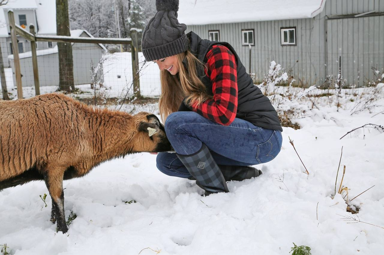 Nikki and goat in the snow