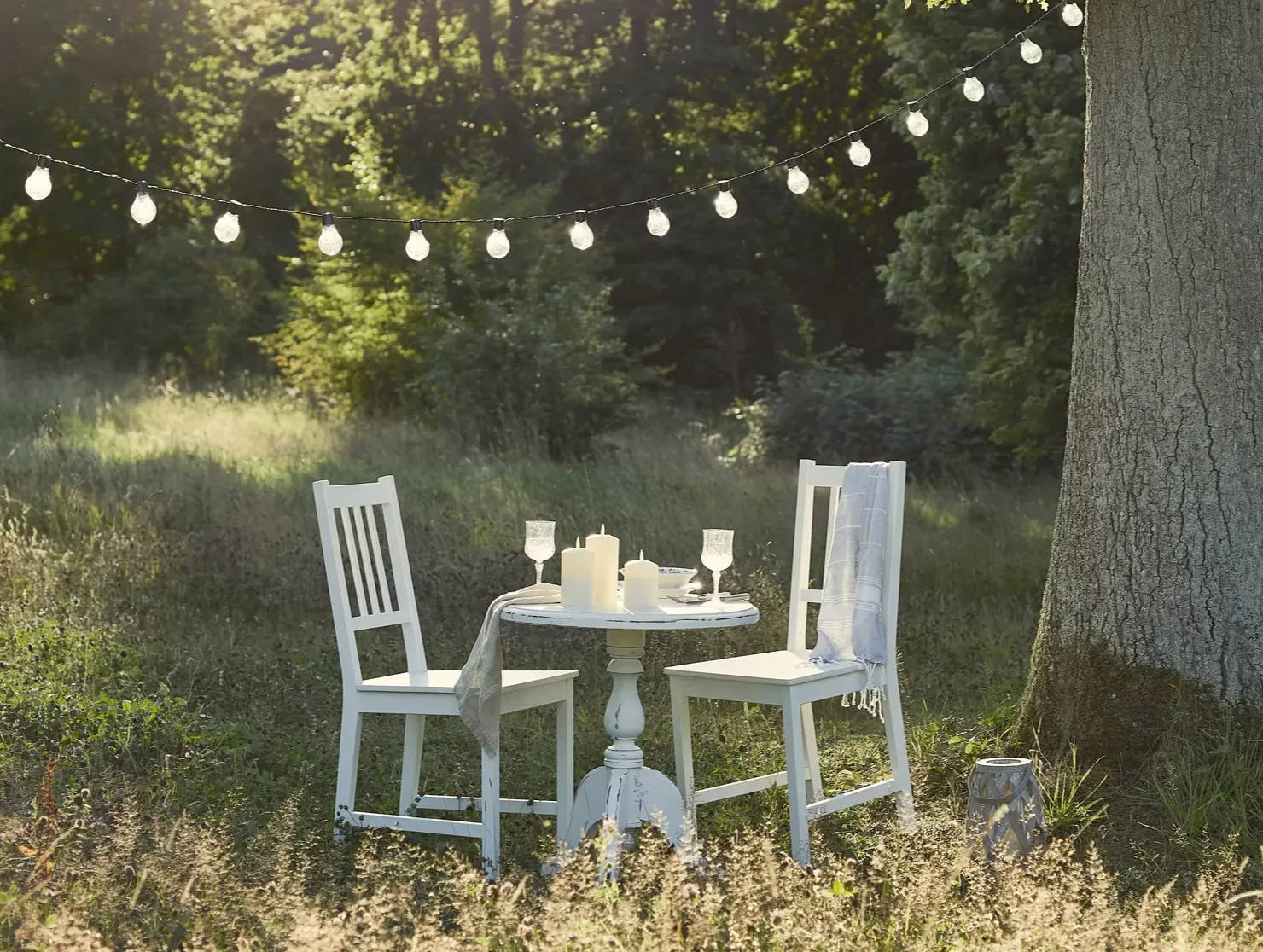 Meadow dining with festoons hung between trees and outdoor candles displayed on table
