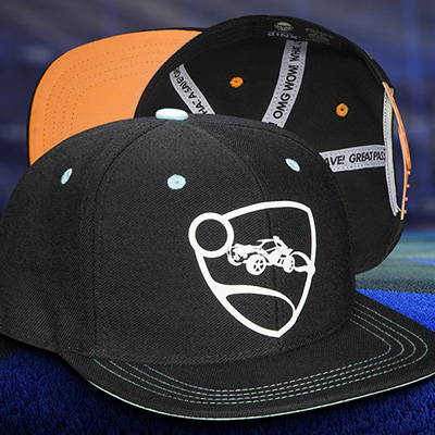 Photo showing two Rocket League hats