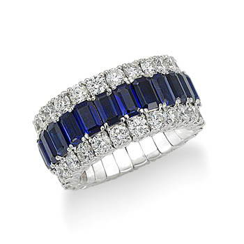 Sapphire and diamond Xpandable ring