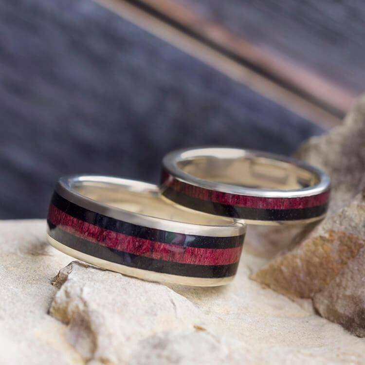 Wood Wedding Band Set