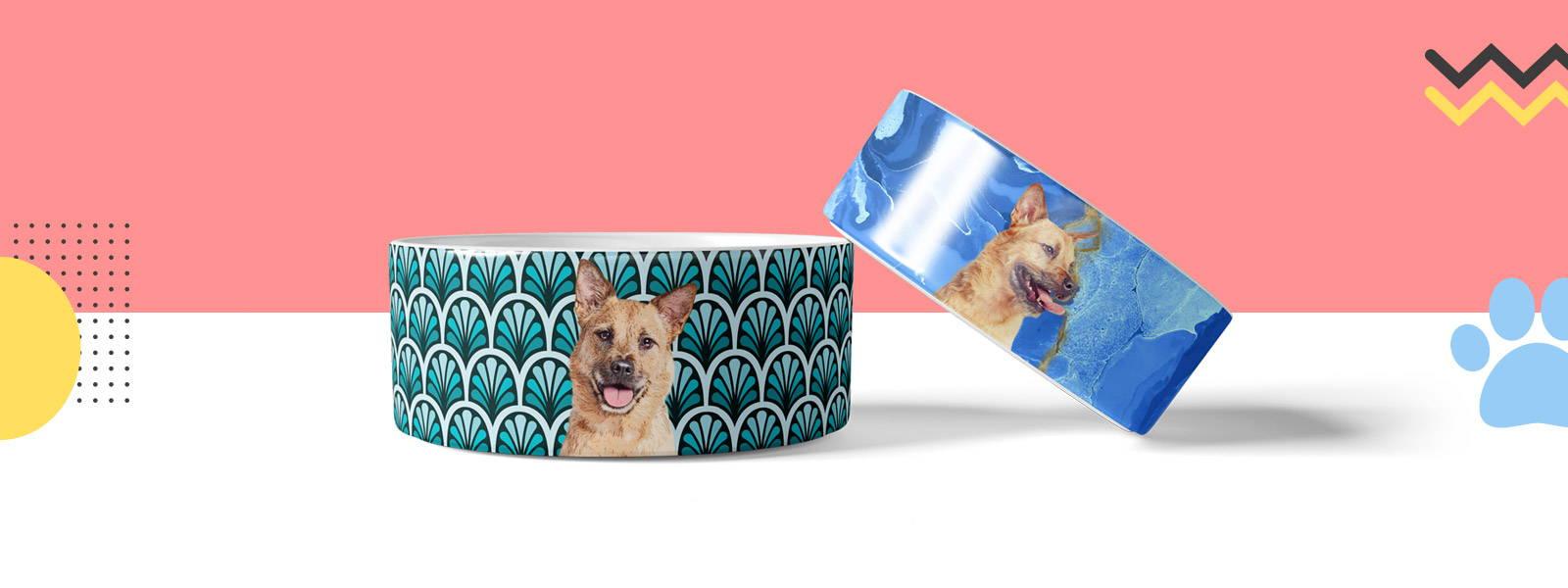 Custom pet portraits printed on pet bowls