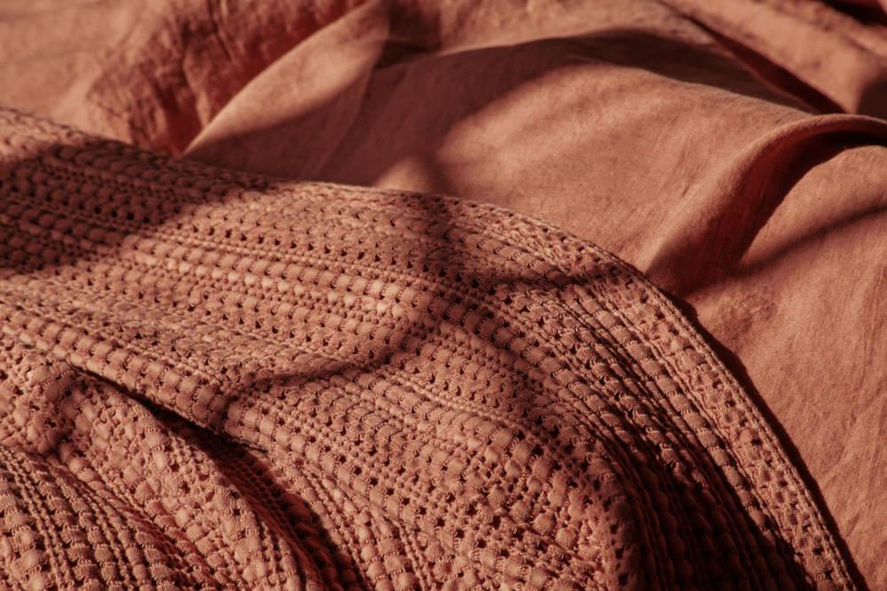 summer bed linen terracotta