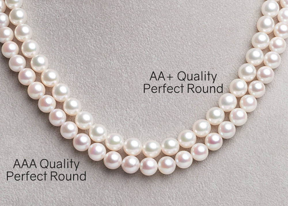 AA+ vs AAA Akoya Pearl Necklaces on Bust