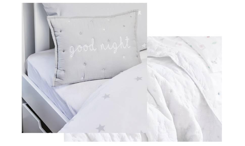 Good night good morning pillow and grey stardust bedding set.
