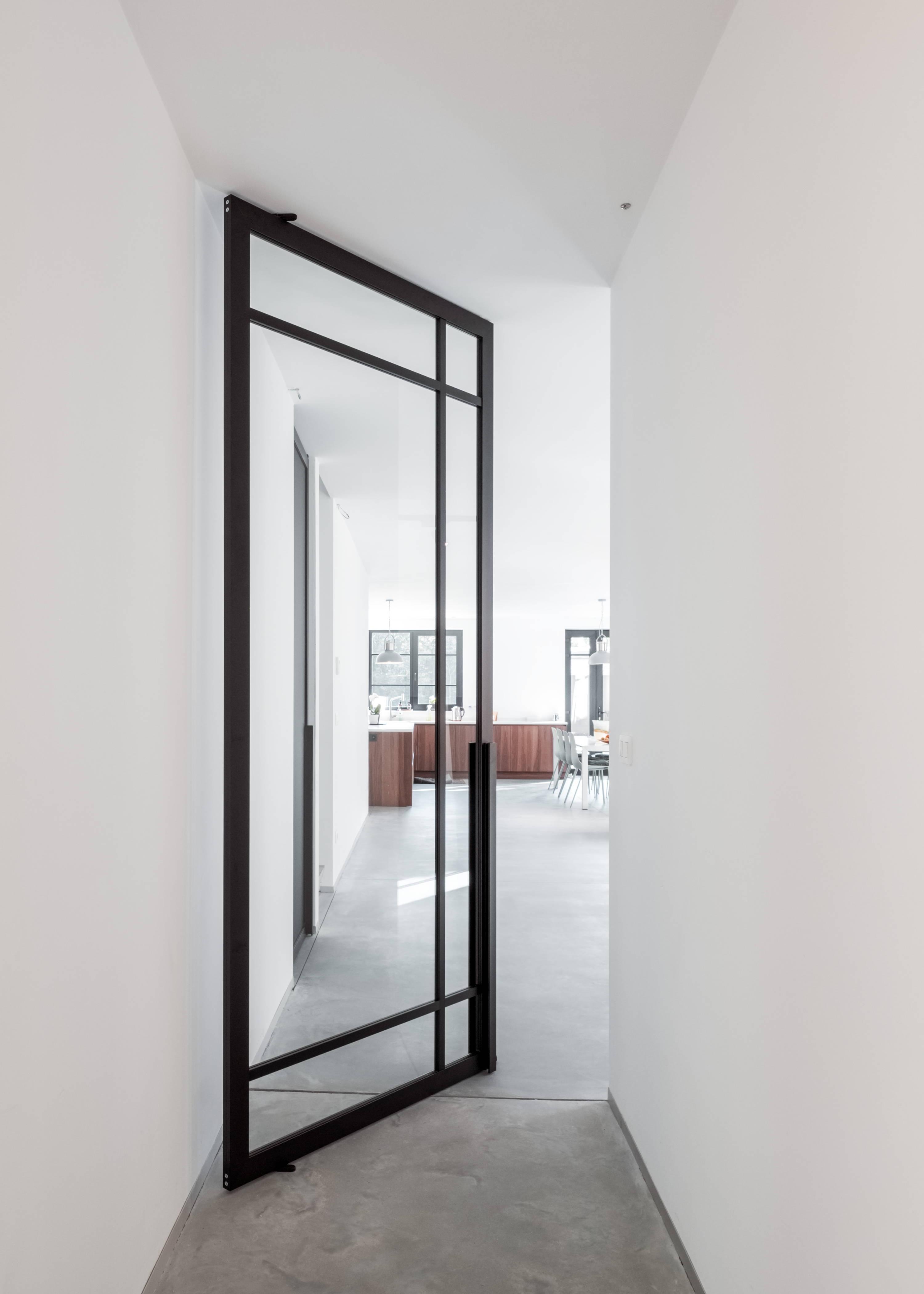 Glass pivot door with steel look profiles