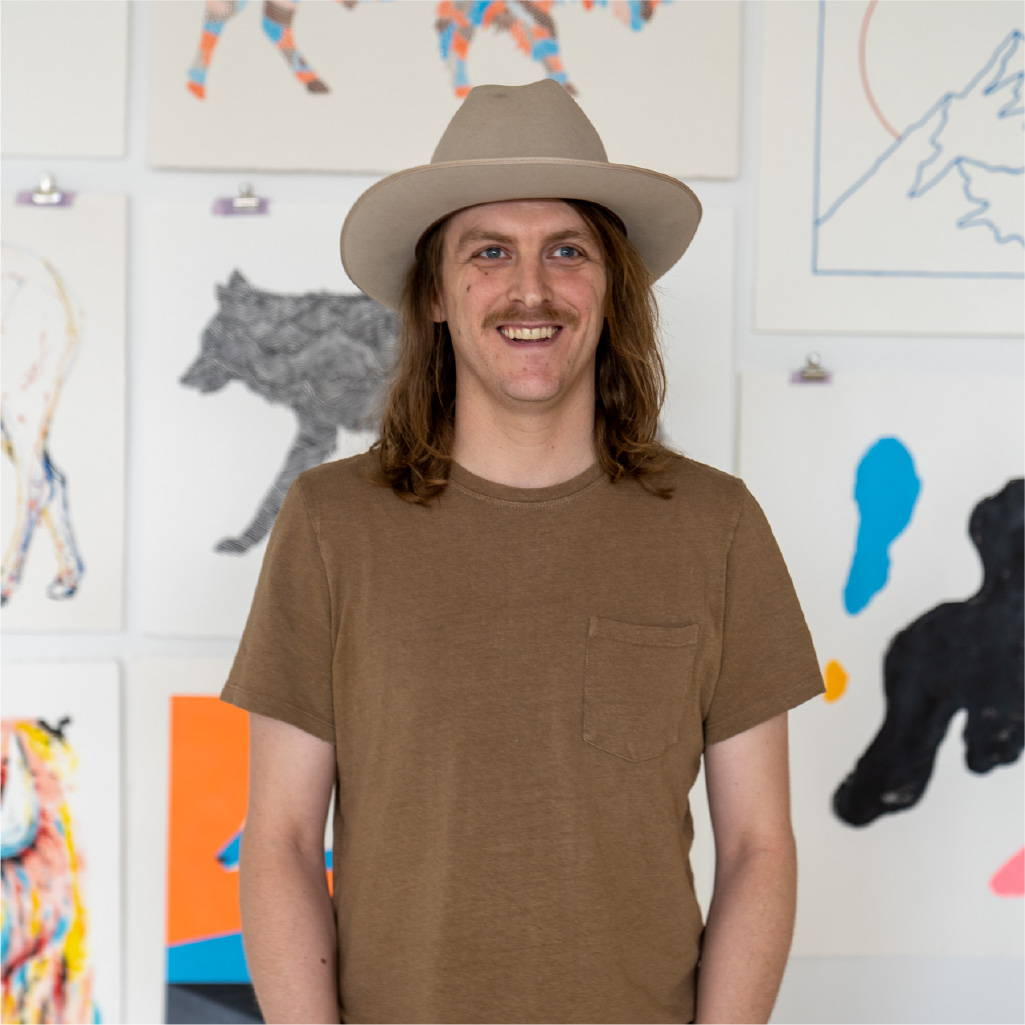 Sam Larson in his art studio