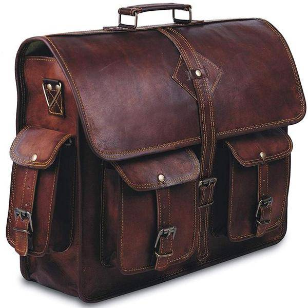 The Retro Leather Messenger Bag Briefcase for Men for 17 Inch Laptops