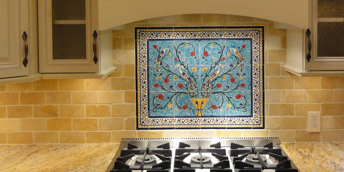 Peacocks & pomegranate tree tile mural with yellow floral border tiles