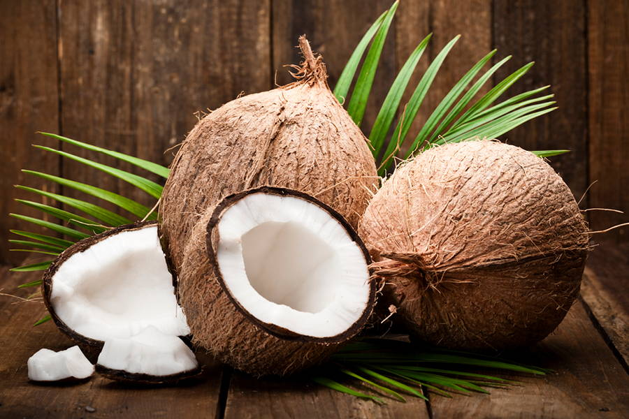 coconuts with palm leaf