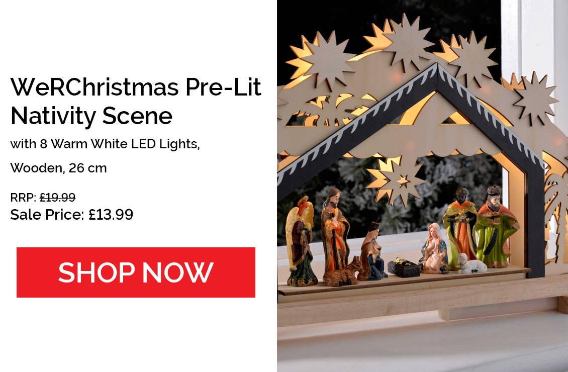Pre-Lit Wooden Nativity Scene
