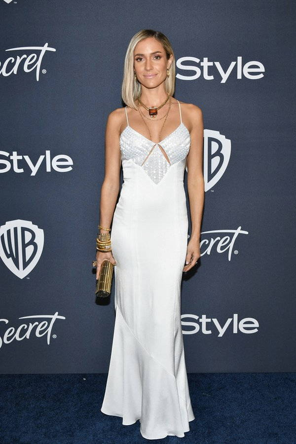Kristin Cavallari wearing Galvan London Diamond Cut Out With Beaded Bust Panels Dress