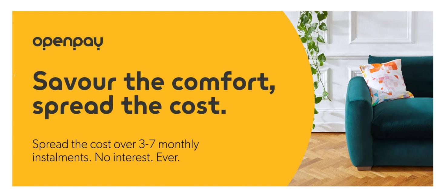 Spread the cost of your Snug Sofa with Openpay finance options, Pine green Cloud sundae sofa.