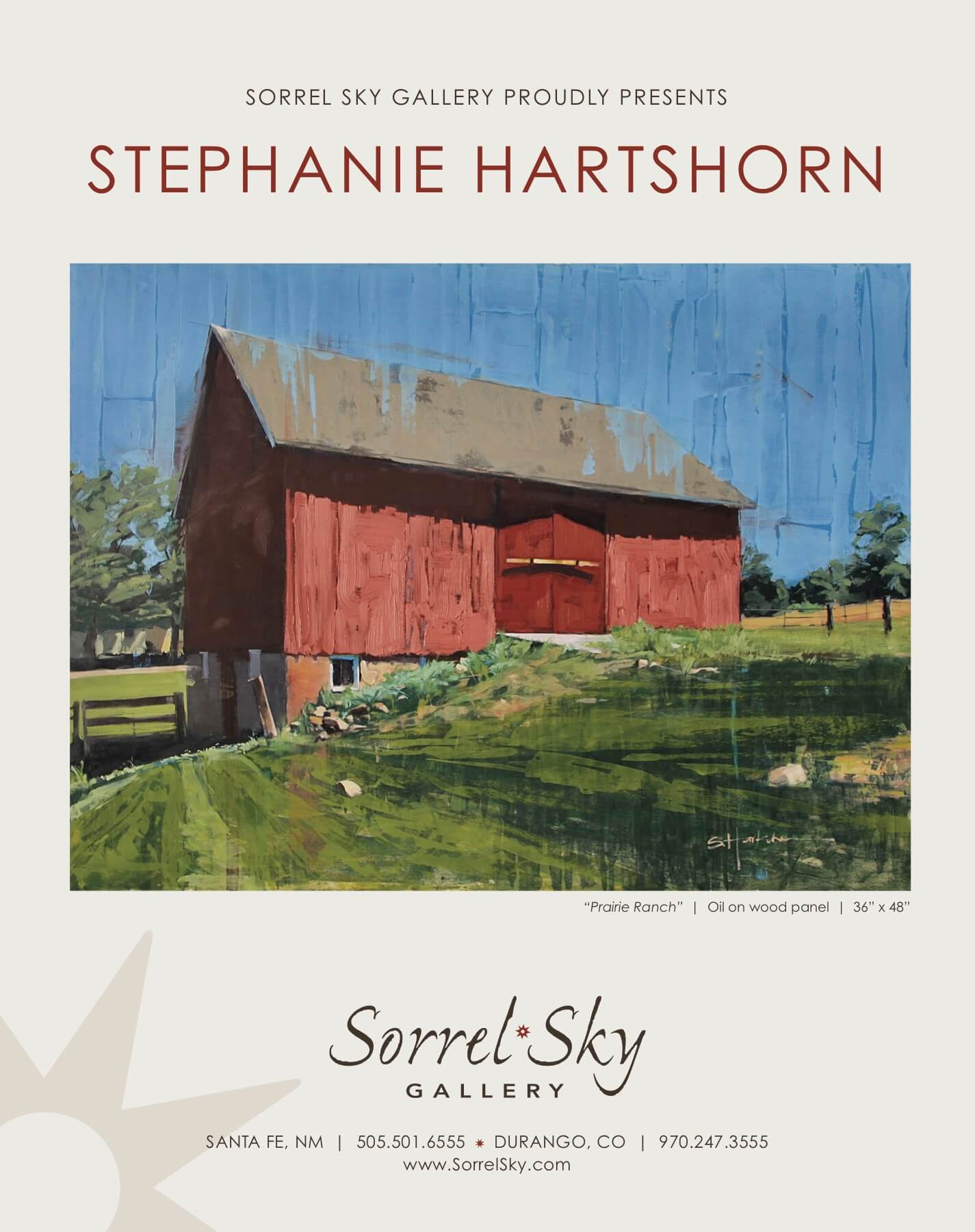 Stephanie Hartshorn. Sorrel Sky Gallery. Barn Painting. Santa Fe Art Gallery. Kevin Red Star.