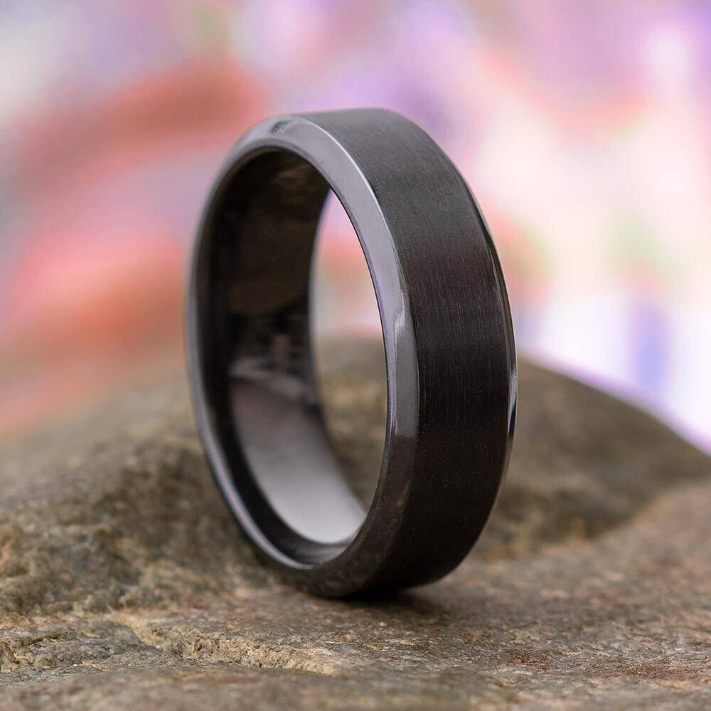 Black Zirconium Wedding Band with Brushed Finish