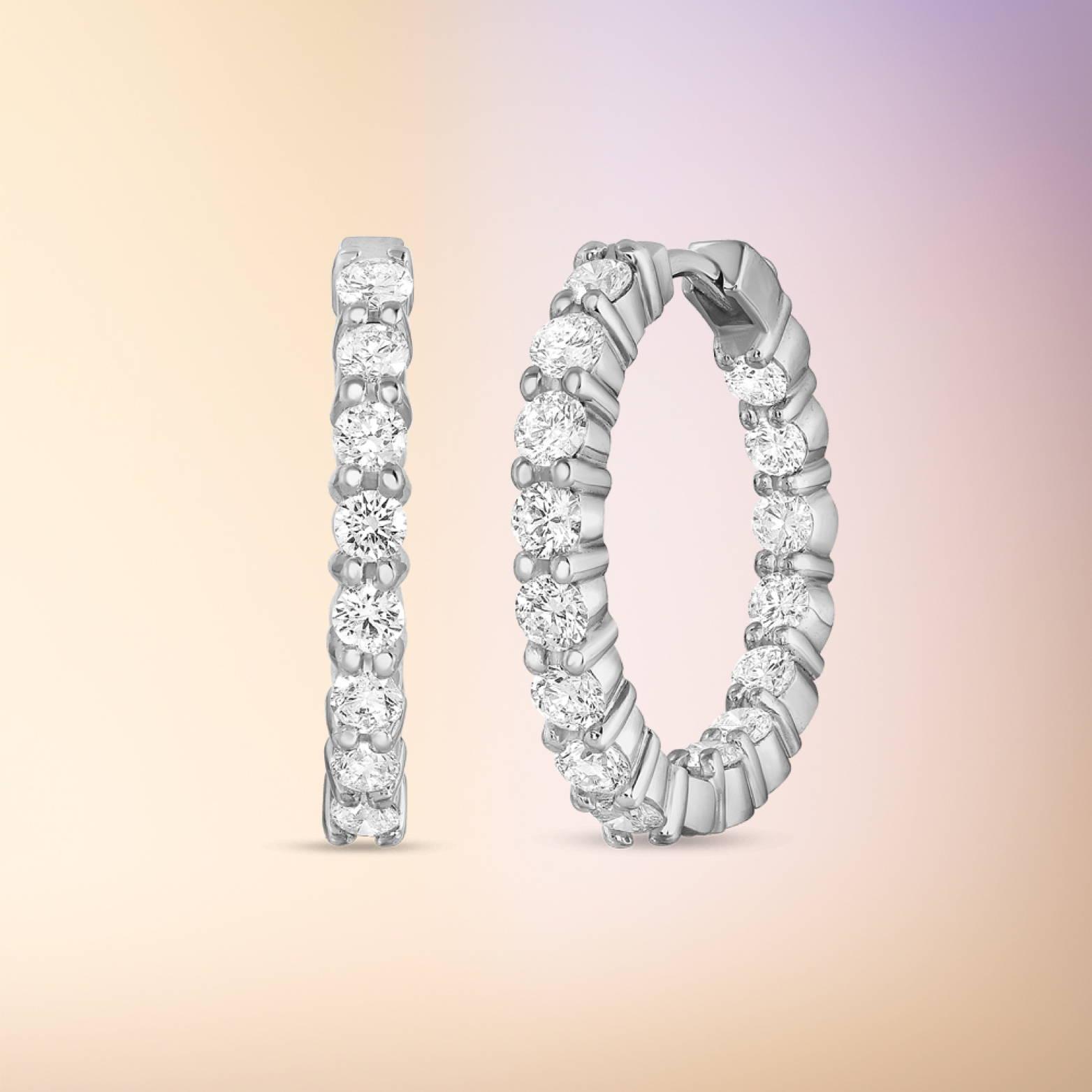 Diamond Inside Out Hoop Earrings
