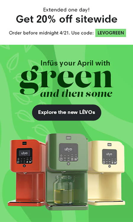 Sale extended 1 day! shop 20% off with LEVOGREEN
