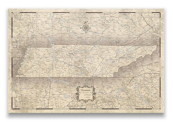 Tennessee Push pin travel map rustic vintage