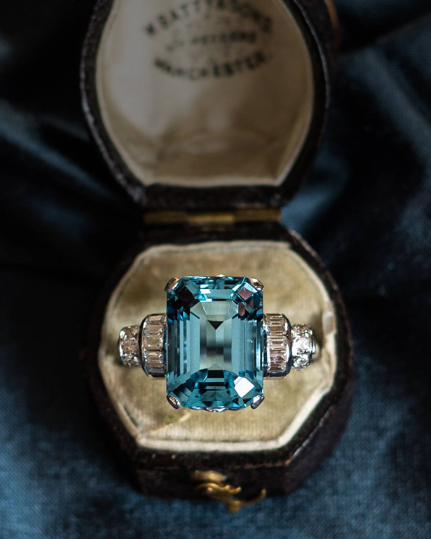 Antique Aquamarine & Diamond Engagement Ring