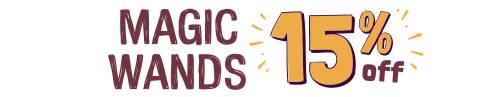 Orange and purple text: MAGIC WANDS 15% OFF