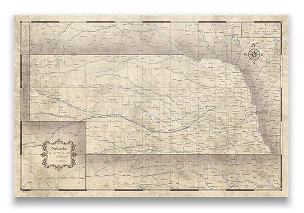 Nebraska Push pin travel map rustic vintage