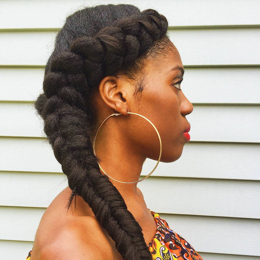 Thick Fishtail Braid Pony Hairstyle