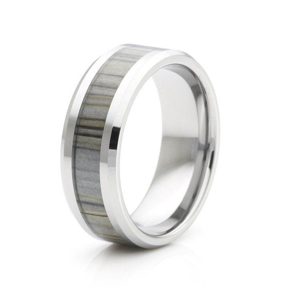 Grey Wood Inlay Ring - That Ring Shop
