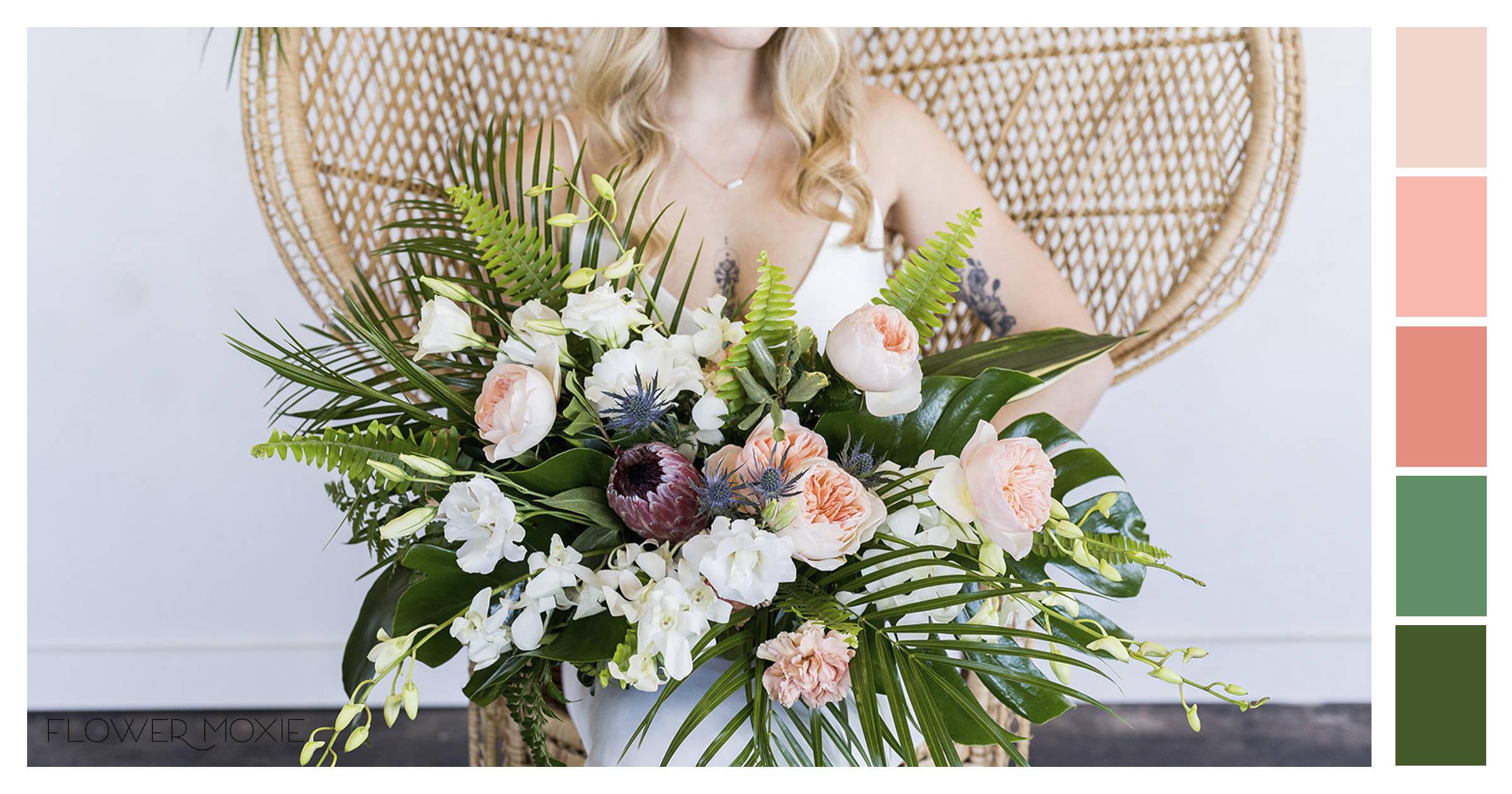 peach tropical bouquet inspiration