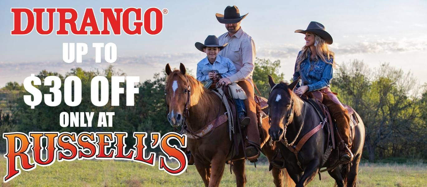 Up to thirty dollars off Durango Boots in store at Russell's Western Wear