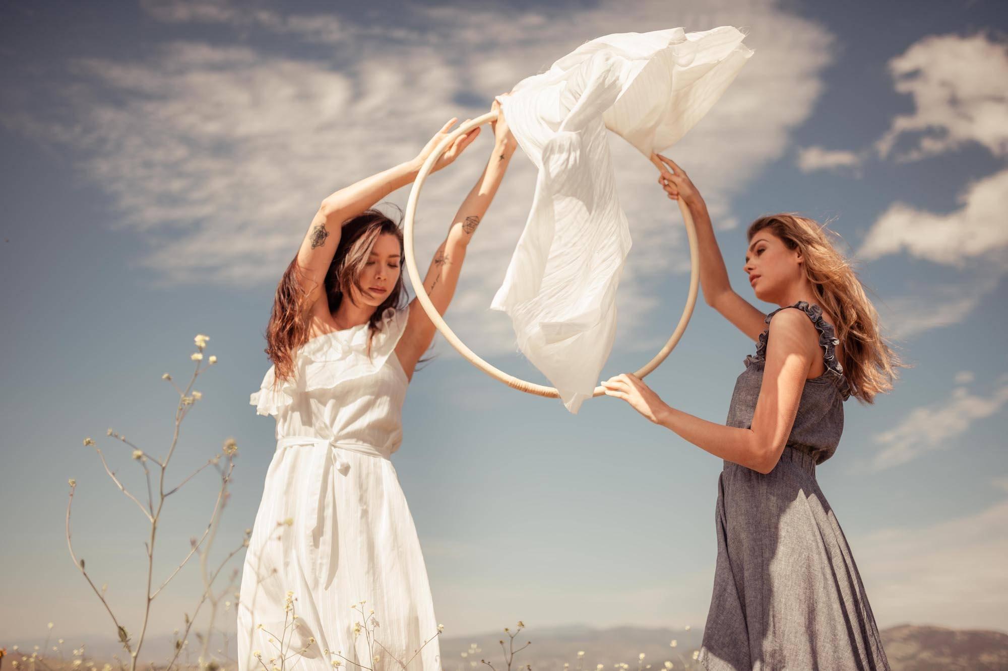 models in hemp dress and banana fabric dress