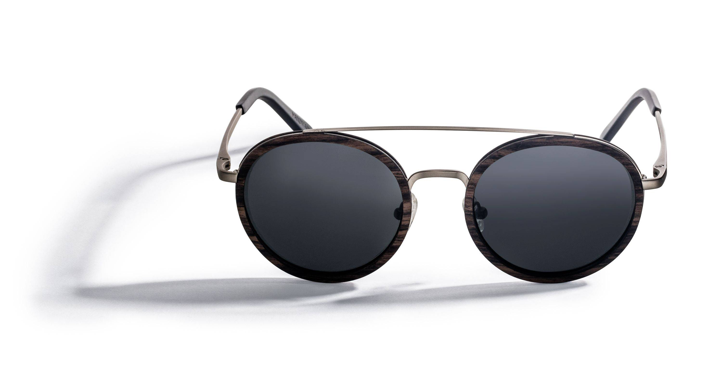 Kraywoods Aspen Silver, Round Double Bridge Sunglasses made from Ebony wood with Polarized Lenses