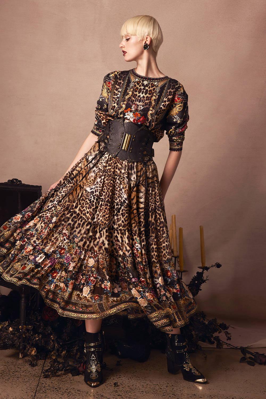 CAMILLA leopard floral skirt