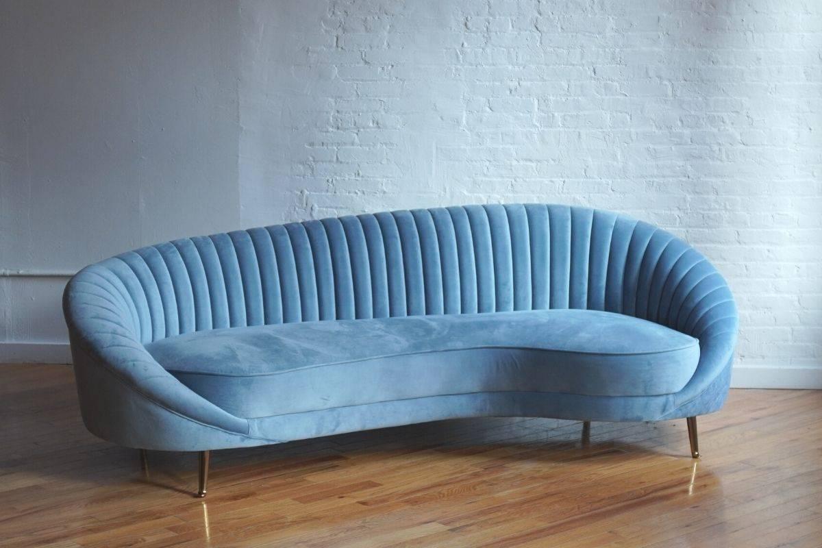 monroe serpentine modern sofa in light blue velvet