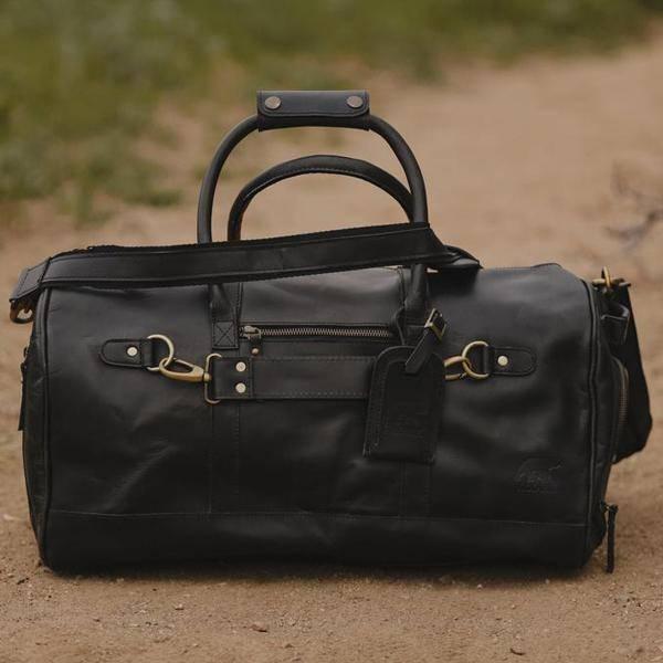 Men's Leather Duffel Bag - Airport Travel Weekend Bag