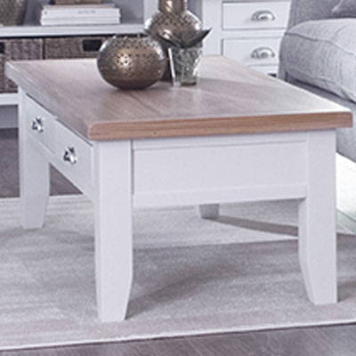 White & Oak Painted Coffee Table