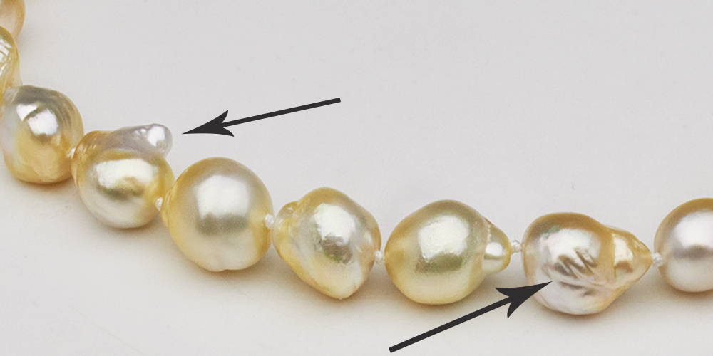 South Sea Pearl Inclusion Types: Uneven Nacre Accumulation
