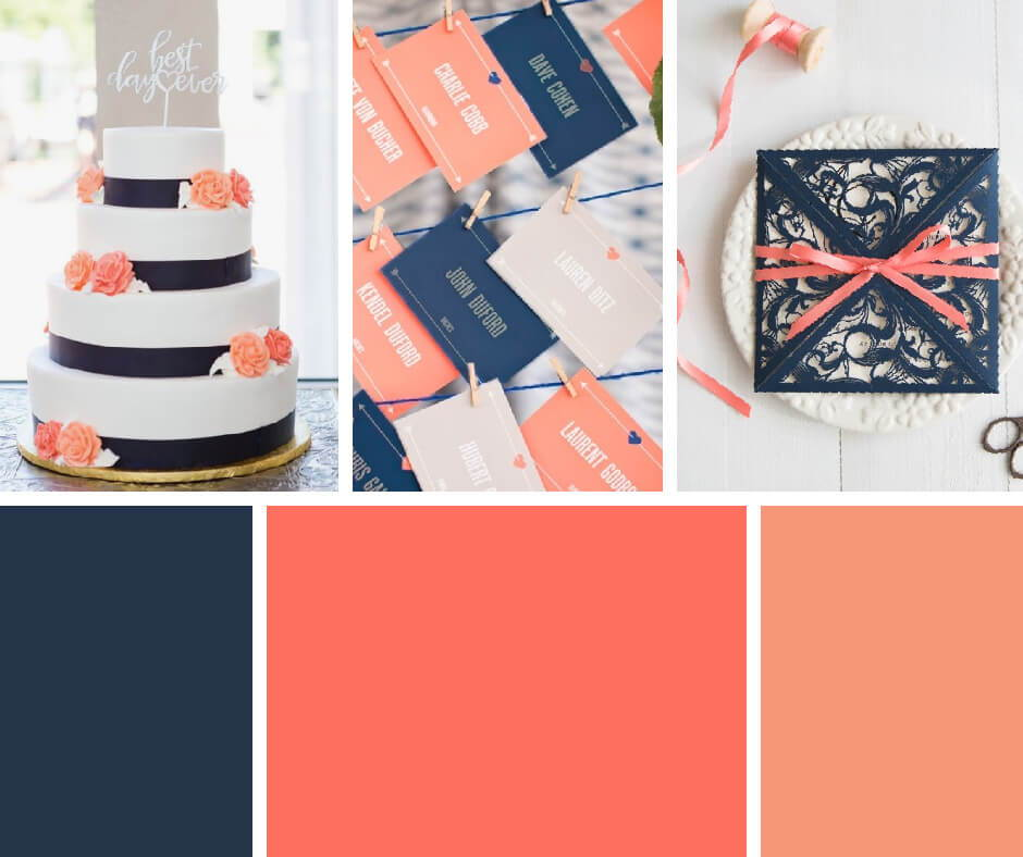 Navy And Coral Wedding.Pantone 2019 Color Of The Year Living Coral Wedding Inspiration
