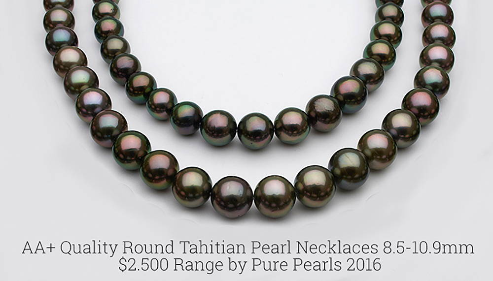 AA+ Quality Tahitian Pearl Necklaces