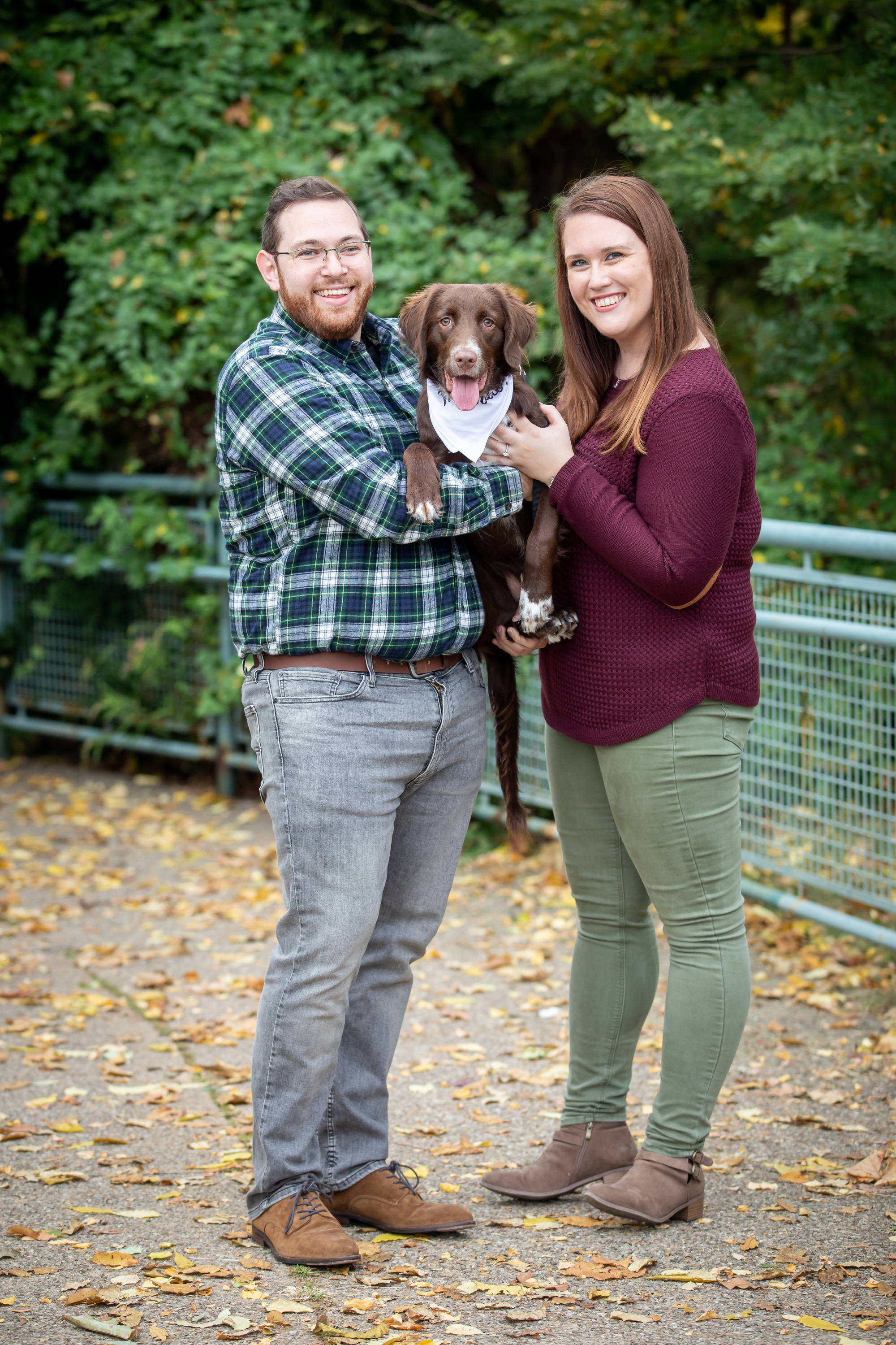 Henne Engagement Ring Couple Max and Andrea at the Park with Their Dog
