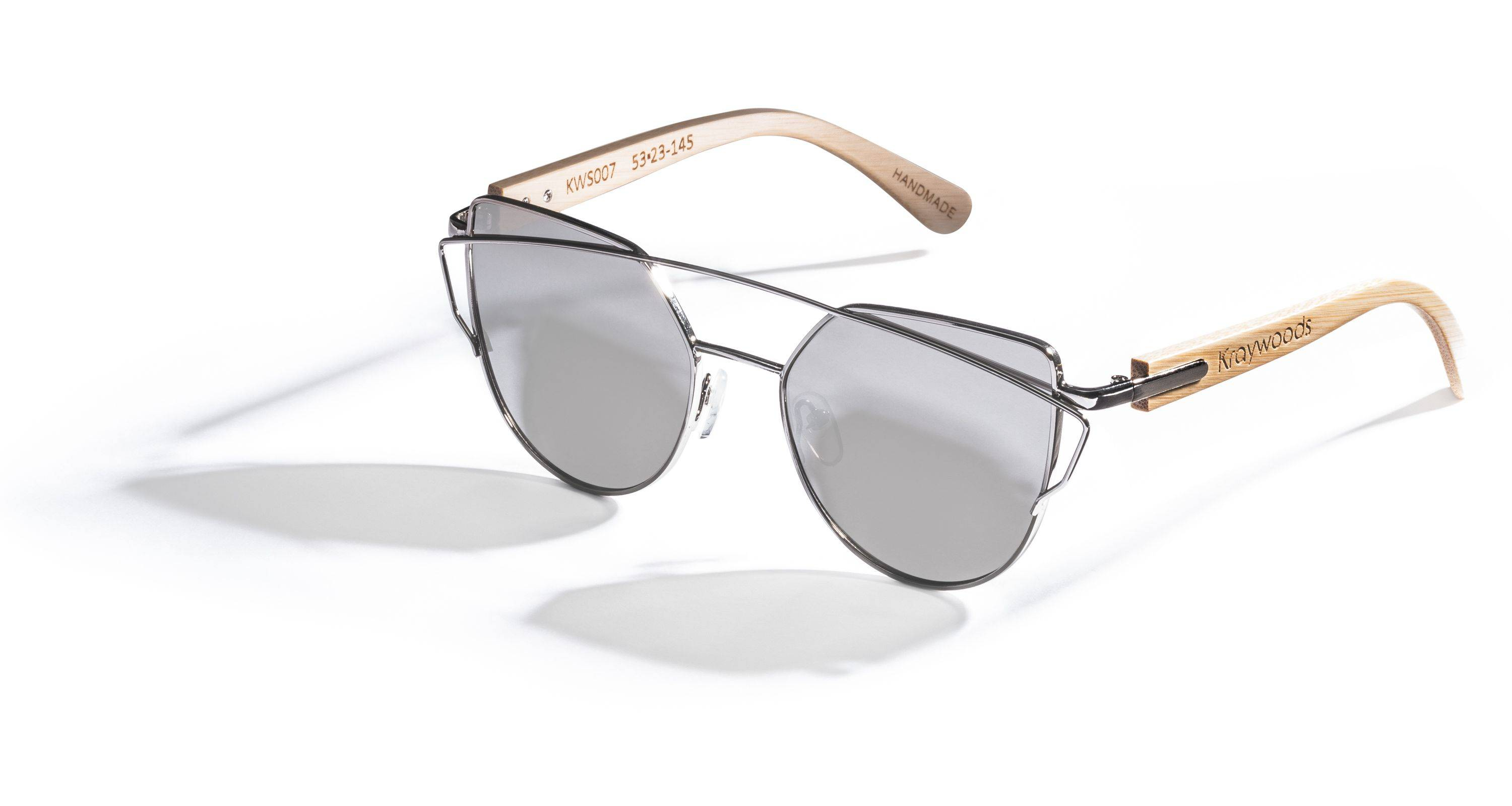 Kraywoods Silver Sun Kiss, Flashy Sunglasses made from Bamboo wood with 100% UV Protection Silver Lenses