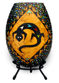 Southwest Gecko Gourd Art by Krystal Garrido