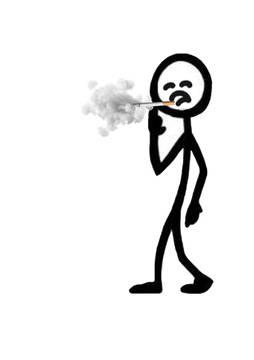 Stick man smoking