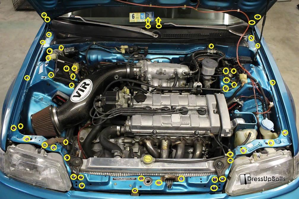 Dress Up Bolts Honda Civic EF (1988-1991) Titanium Full Engine Bay Kit –  Import Image RacingImport Image Racing