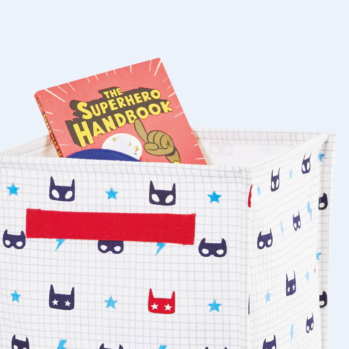 Canvas storage cube with superhero pattern