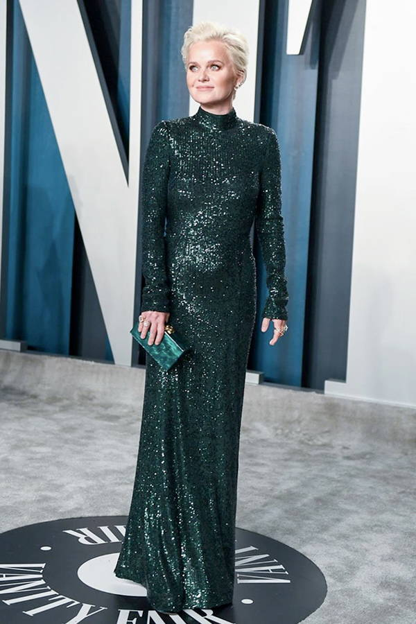 Dr Barbara Sturm wears Galvan London Long Sleeves Sequin Emerald Dress