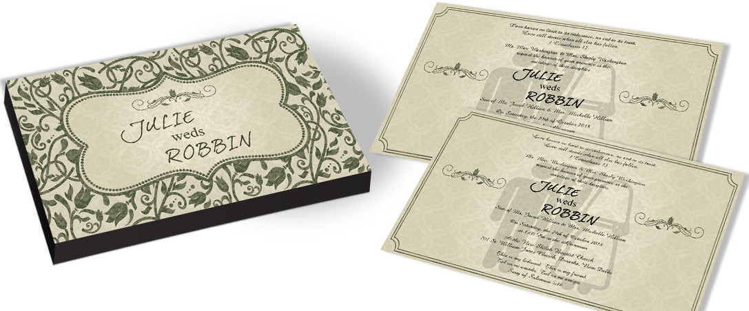 Green leaves Bible Wedding Invitation